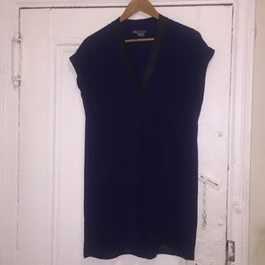 Vince Navy Blue Dress with Leather Trim Size XS